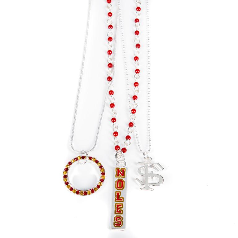 3-Piece Necklace - Seminoles-3-piece necklace, seminoles, florida, football, jacksonville florida