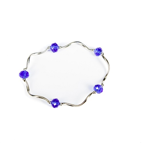 Silver Bangle - Blue-bracelet, bangle, jewelry