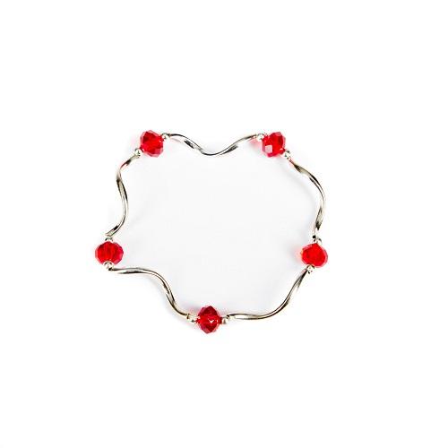 Silver Bangle - Red-jewelry, bracelet, bangle