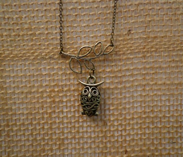 Bronze Little Owl Necklace-necklace, owl, bronze