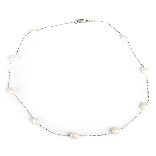 Single Strand Pearl Necklace - Ivory-pearl, necklace, jewelry