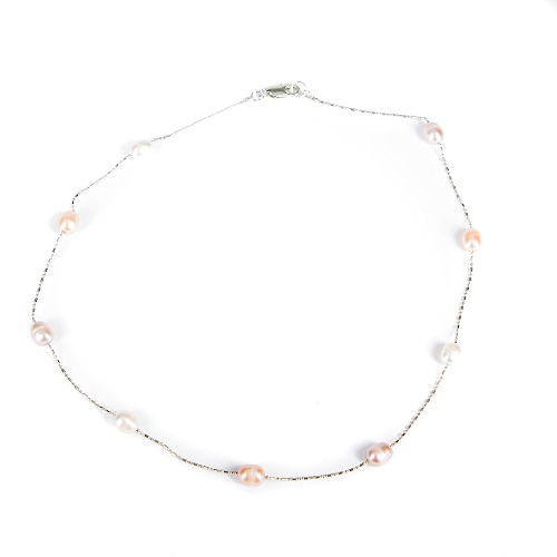 Single Strand Pearl Necklace - Pink and Ivory-pearl, necklace, jewelry