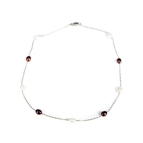 Single Strand Pearl Necklace - Plum and Ivory-pearl, necklace, jewelry