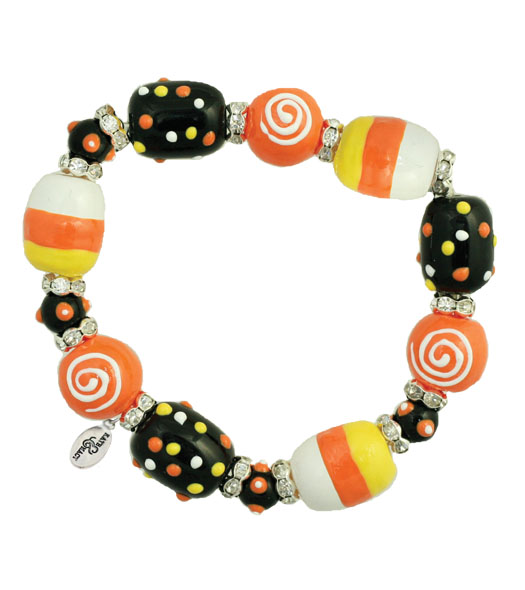Trick R' Treat Bracelet-Halloween, Kate Macy, bracelet, trick or treat, orange, Fall, glass beads