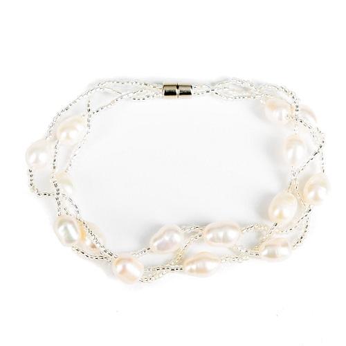 Triple Strand Pearl Bracelet-bracelet, jewelry, pearl, opal