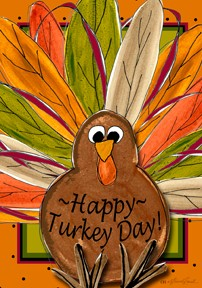 Large Flag, Happy Turkey Day-flags, thanksgiving, custom decor inc