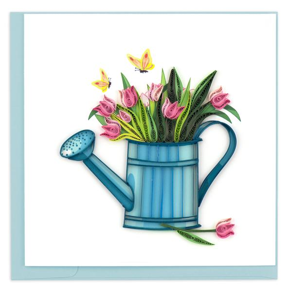 Quilling Card, Watering Can with Tulips-greeting card, handmade card, quilling card