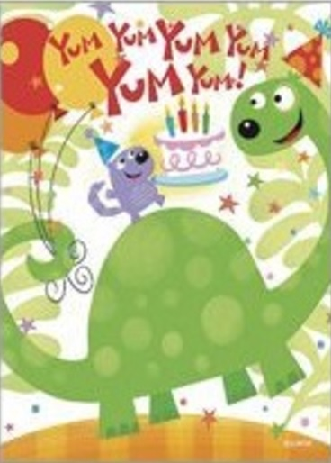 Birthday Card, Yummy Dino-birthday, card, yummy, dino, dinosaur